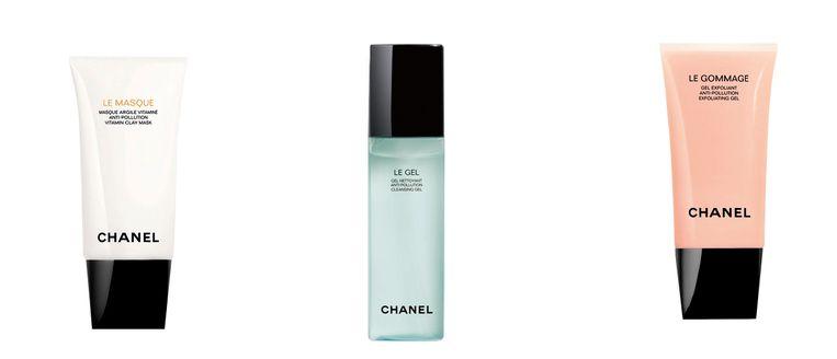 Vanaf links: Chanel Le Masque € 52, Chanel Le Gel € 39, Chanel Le Gommage €45 Beeld