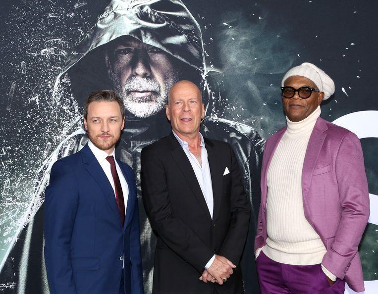 James McAvoy, Bruce Willis en Samuel L. Jackson op de première van 'Glass' in New York.