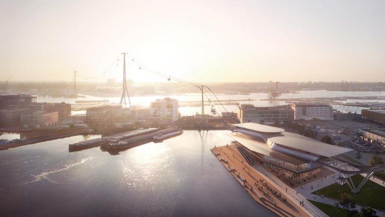 Impressie van de kabelbaan tussen de Minervahaven en de NDSM-werf. Beeld Plompmozes