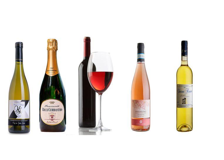 Van links naar rechts: droge witte wijn, schuimwijn, rode wijn, rosé en zoete witte wijn.