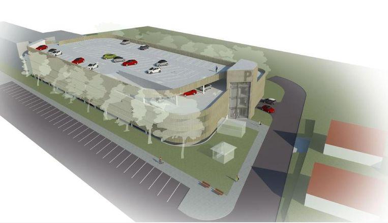 Zo zou het nieuwe parkeergebouw er kunnen uitzien.