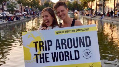 Vriendinnen winnen wereldreis met liftwedstrijd
