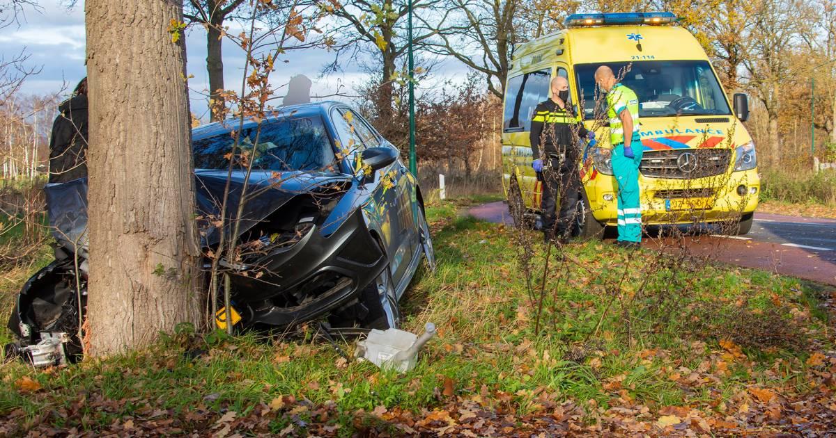 Auto zwaar beschadigd na botsing tegen boom in Heesch.