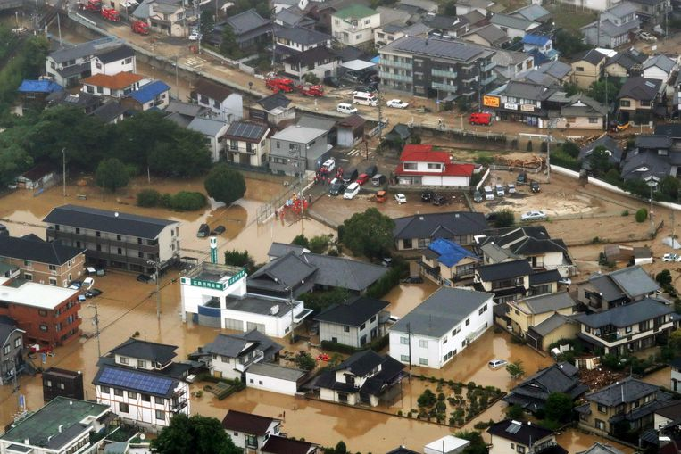 Overstromingen in Saka town, Hiroshima. Beeld null