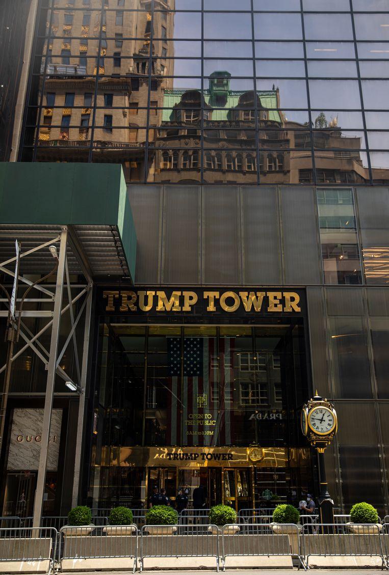 De Trump Tower in Manhattan. De burgemeester van New York heeft plannen om voor het gebouw in grote letters 'Black Lives Matter' te laten zetten. Tot grote woede van president Trump. Beeld Getty Images