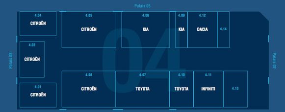 Paleis 4: Citroën - Dacia - DS - Infiniti - Job on Wheels - Kia - Richa - Toyota