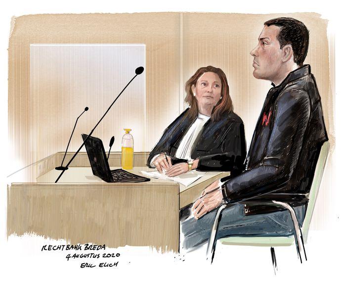 Rechtbanktekening: Edwin M. die de gehandicapte Goof Feijtel (55) uit Dinteloord  heeft aangereden.