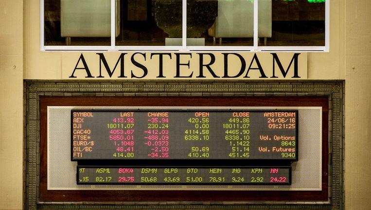 De Amsterdamse beurs afgelopen vrijdag, nadat de Britten voor een Brexit hadden gestemd Beeld ANP