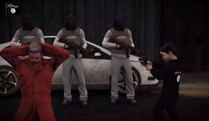 Beeld uit een van de video's die de terreurverdachte verspreidde.