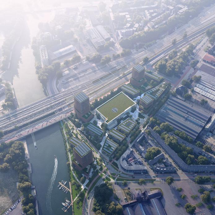 Meer dan 800 woningen in vier woontorens op de hoek Parallelweg-Veemarktweg. Het gebouw met het groene dak is het voormalige postgebouw waar de Kunstacademie gebruik van blijft maken.