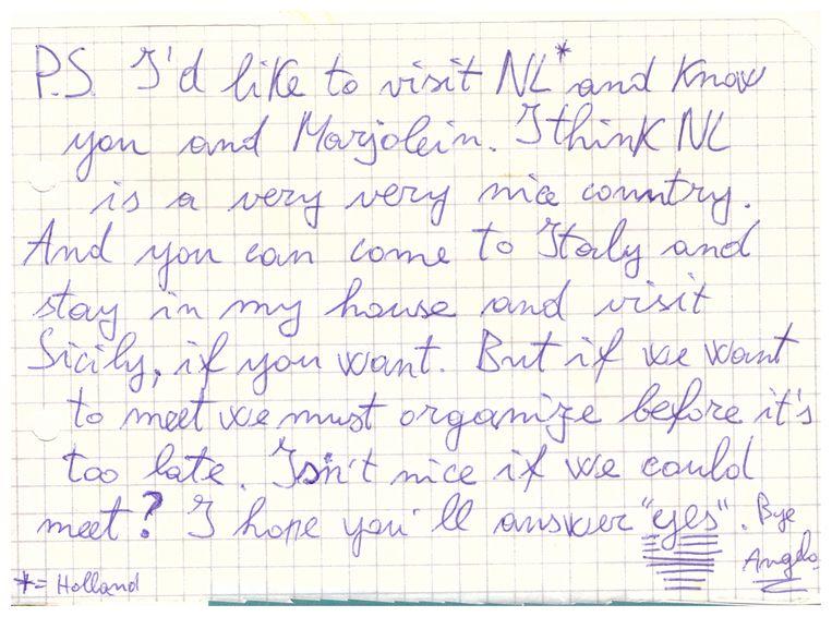 Fragment van brief van Angelo, 1988. Beeld null