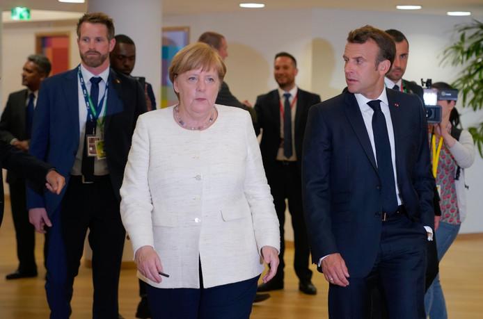 De Duitse bondskanselier Angela Merkel en de Franse president Emmanuel Macron tijdens de Europese top in Brussel.