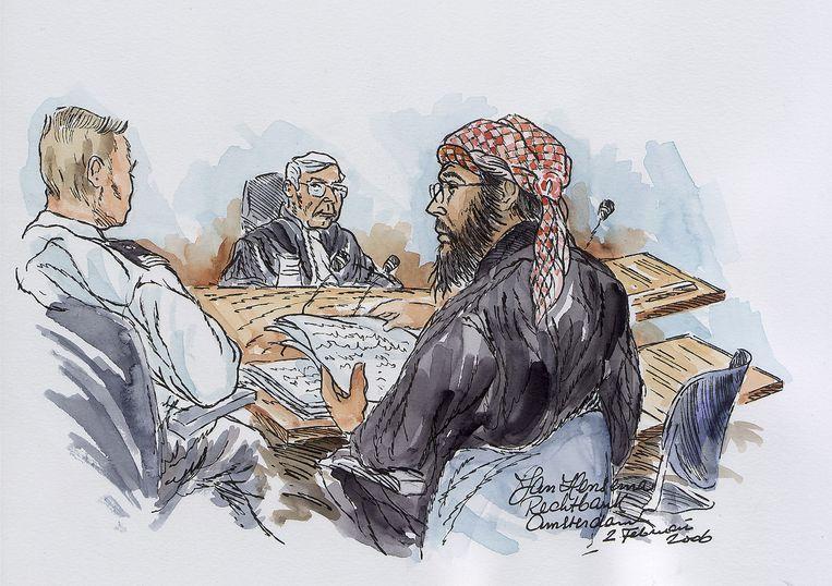 Impressie van Mohammed B. in de extra beveiligde rechtbank in Osdorp. Beeld anp