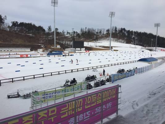 De locatie voor het biatlon in Pyeongchang.