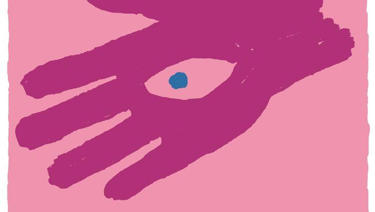 Illustrator Milo ontwierp 'een helpende hand' met een oog erin. Beeld Milo