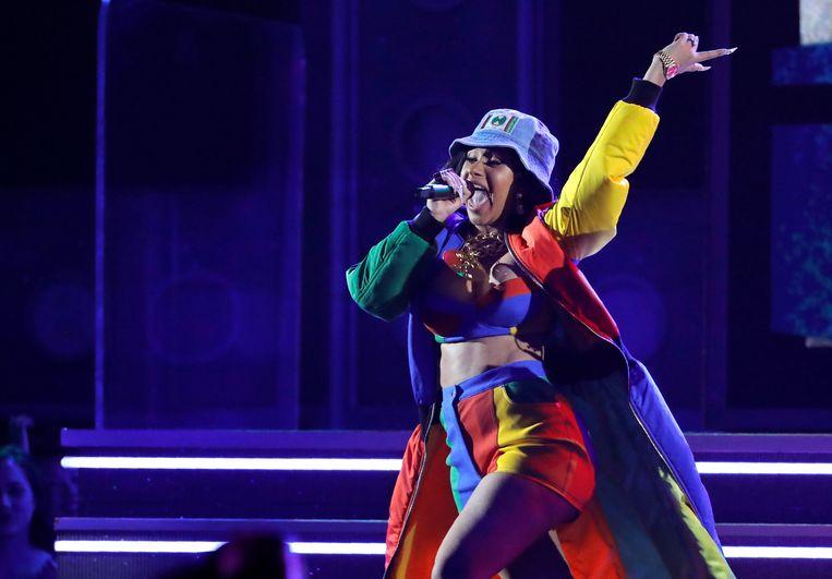 Cardi B tijdens haar optreden op de Grammy Awards 2018 in New York.