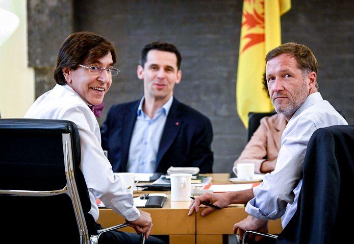 Rencontre PS-Ecolo en vue de la formation d'un gouvernement wallon: Elio Di Rupo, Paul Magnette et Jean-Marc Nollet
