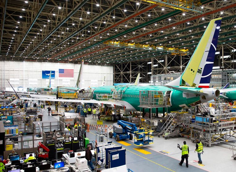 Een Boeing 737 MAX in de Boeing-fabriek in Renton, Washington.