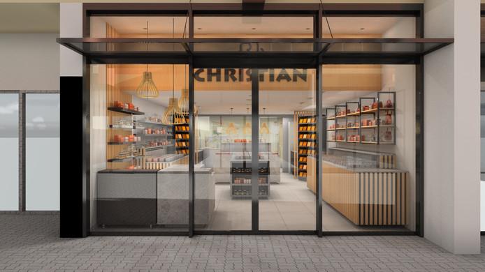 Het aanzicht van de nieuwe winkel met open, glazen gevel.