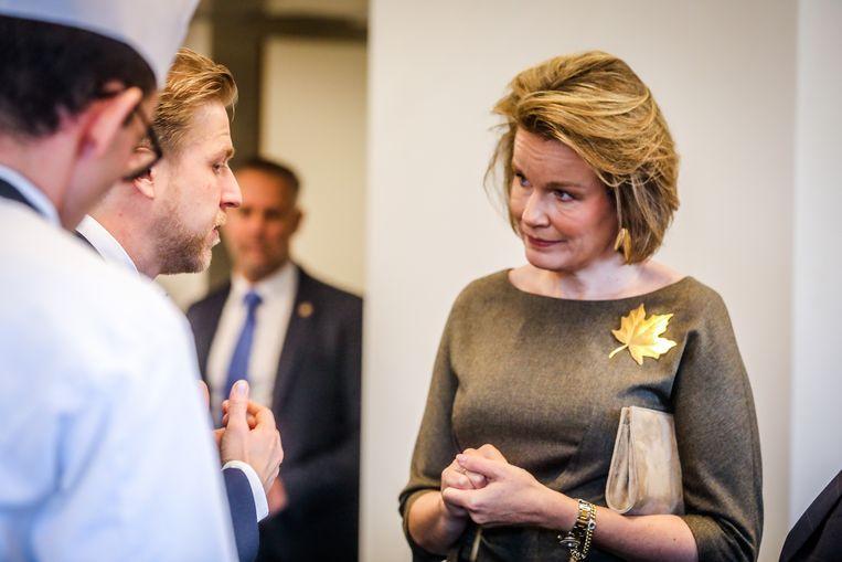 De koningin in gesprek met Seppe Nobels.