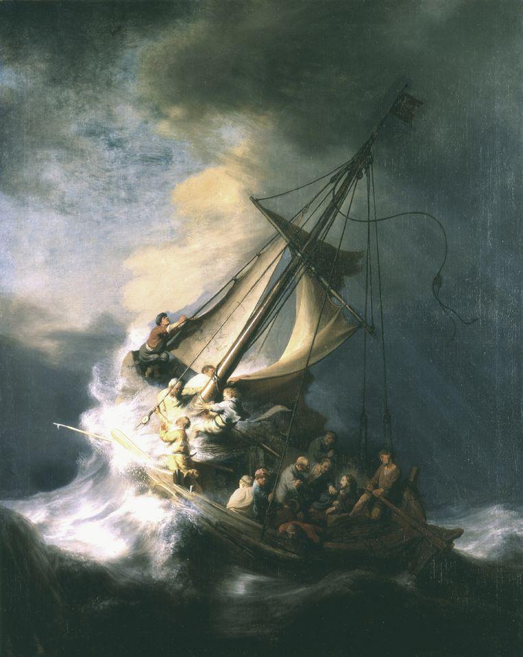 Christus in de storm op het meer van Galilea van Rembrandt van Rijn. Beeld -