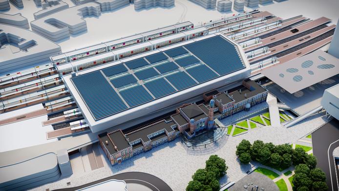 Bovenaanzicht met de zonnepanelen van het toekomstige station Gent Sint-Pieters.