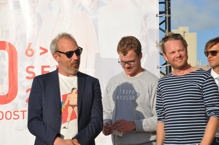 Jan Eelen met Bart Hollanders en Rik Verheye, twee van de vier Callboys.