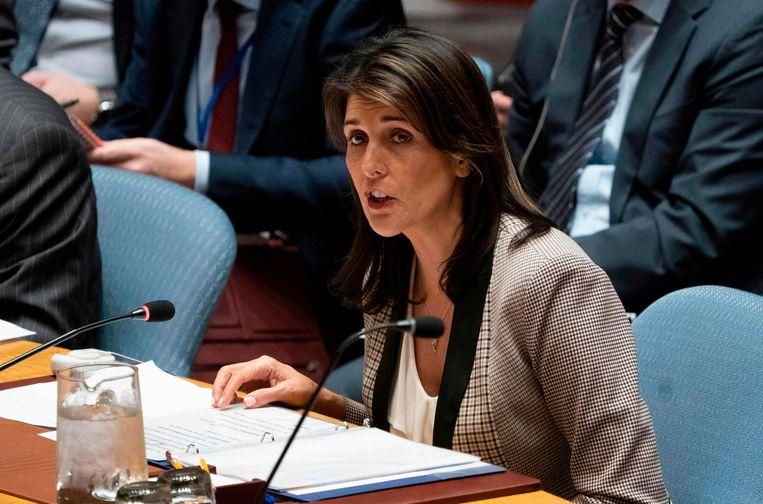 """De Amerikaanse ambassadeur Nikki Haley noemde het document """"een essentiële stap"""" naar vrede in het Midden-Oosten en vroeg alle VN-lidstaten daarom voor te stemmen."""