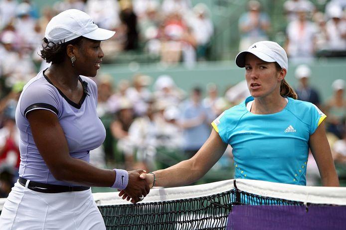 Serena Williams en Justine Henin in 2008.