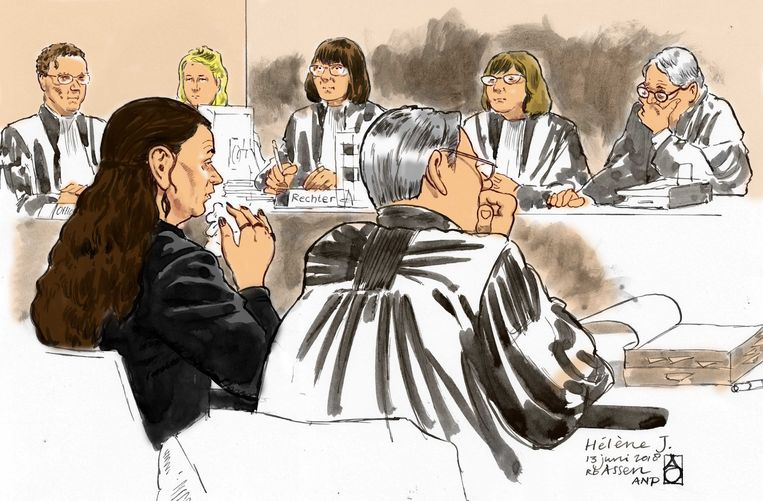 Schets van de 38-jarige moeder van Sharleyne (8) Hélène J. en haar advocaat Paul van Jaarsveld in de rechtbank van Assen. Beeld ANP