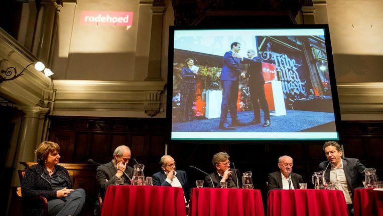 Mariette Hamer, Job Cohen, Ad Melkert, Jacques Wallage, Wim Meijer en Jeroen Dijsselbloem. Beeld anp