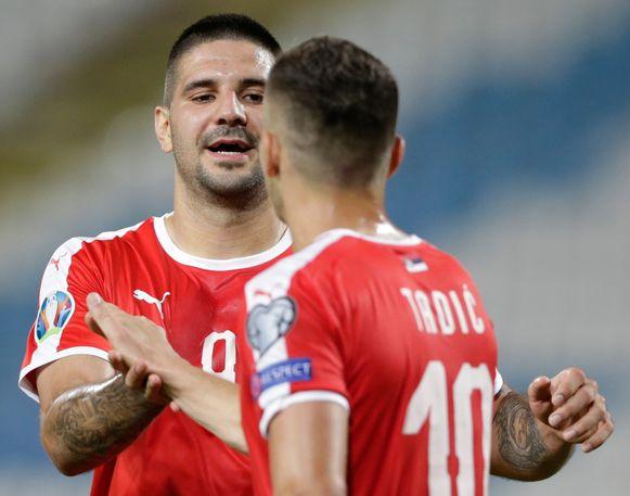 Mitrovic aan het feest tegen Litouwen.