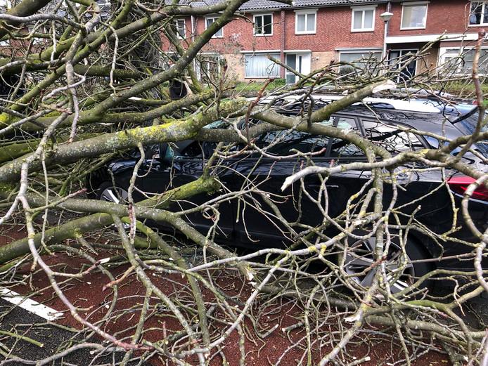 Schade aan een auto na storm in Eindhoven.