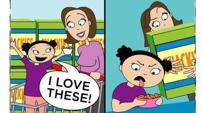 """""""Eet nu verdorie dat bord leeg!"""" Strips leggen hilarisch herkenbaar de strijd met kinderen aan tafel bloot"""