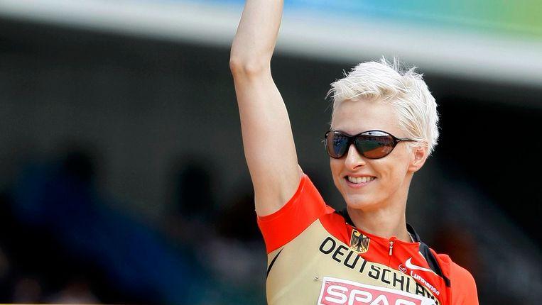 De Duitse Ariane Friedrich na haar sprong op het Europees kampioenschap in Barcelona in juni 2010. Rond haar woedt in Duitsland een debat over privacy.