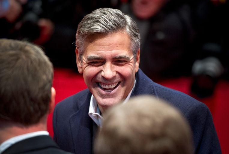 George Clooney zaterdag op het filmfestival van Berlijn, waar zijn The Monuments Men werd vertoond. Beeld ap