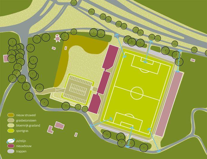 Tekening van het Future Center Wageningen vanuit de lucht. Links in het lichtgele stuk is de nieuwe ontsluiting vanaf het parkeerterrein te zien.