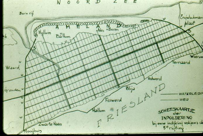 Het plan voor de inpoldering van de Waddenzee.