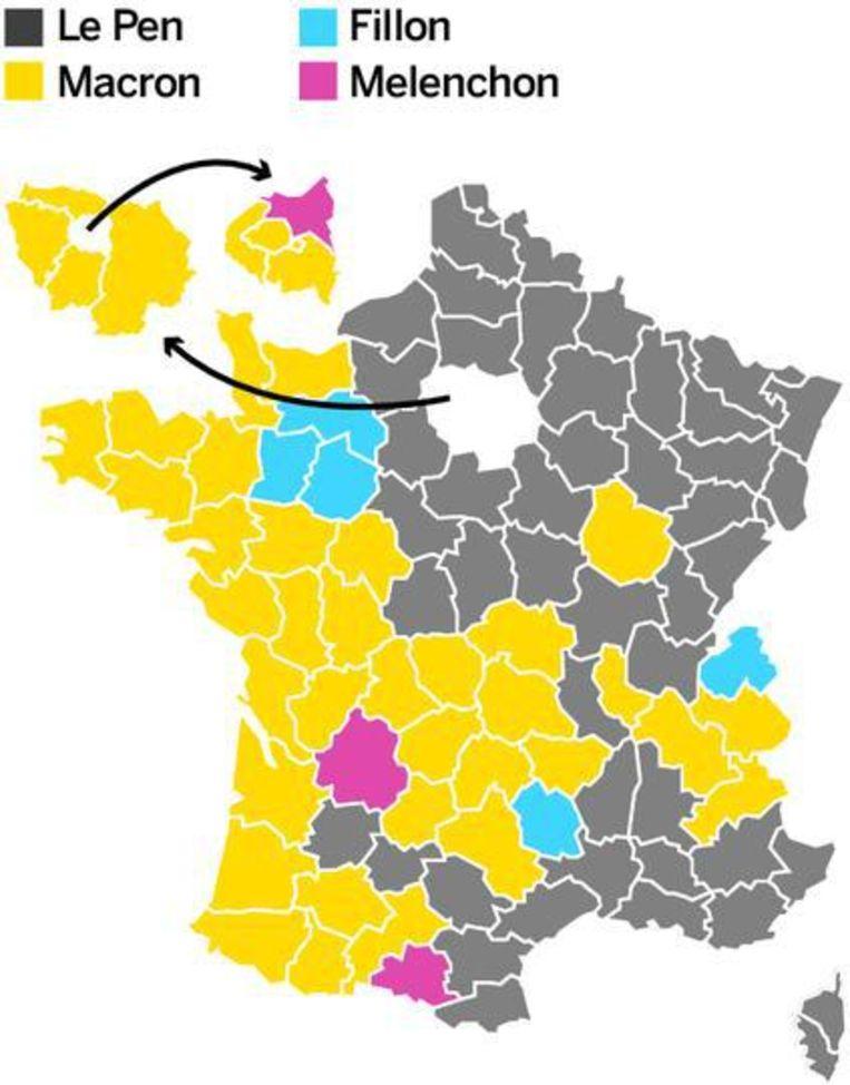 Hier won Le Pen... Beeld de Volkskrant