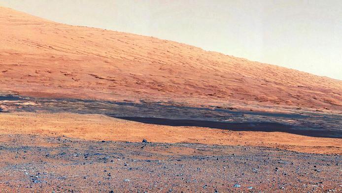 Het landschap van Mars, gefotografeerd door Curiosity.
