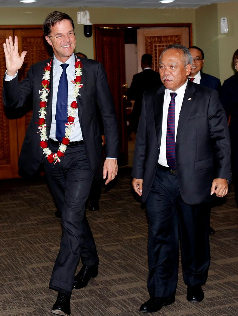 Mark Rutte tijdens een staatsbezoek aan Indonesië in 2016. Beeld null