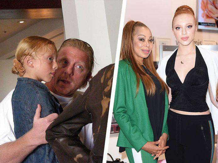 Becker links met dochter Anna Ermakova, rechts een recente foto van Anna met haar moeder Angela.