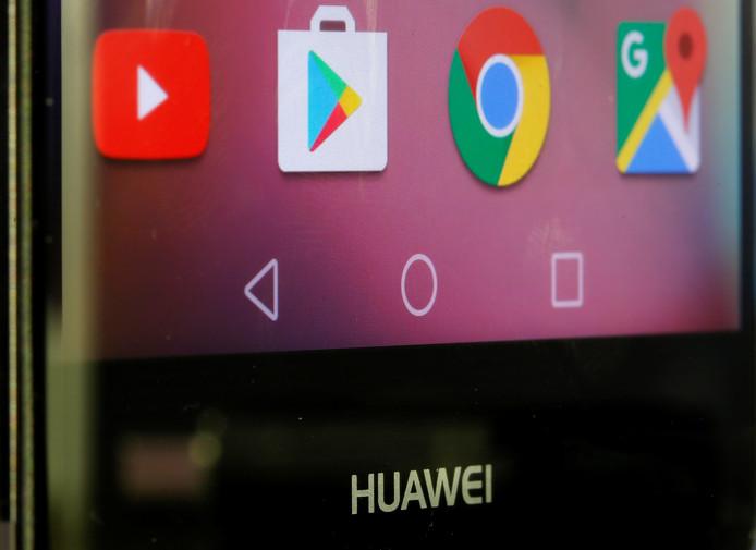 Google applicaties op een smartphone van Huawei.