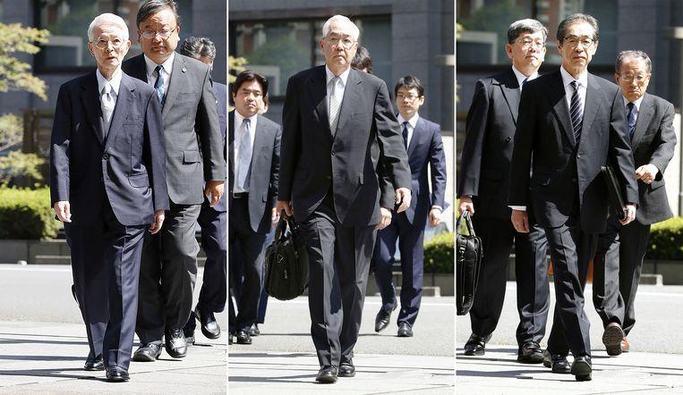 Tsunehisa Katsumata, Sakae Muto en Ichiro Takekuro arriveren bij de rechtbank in Tokio.
