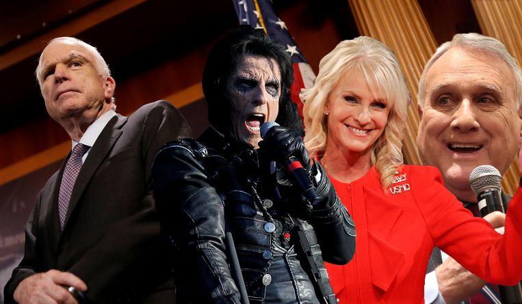 McCain en drie van zijn mogelijke opvolgers: Alice Cooper, zijn weduwe Cindy en oudgediende Jon Kyl.