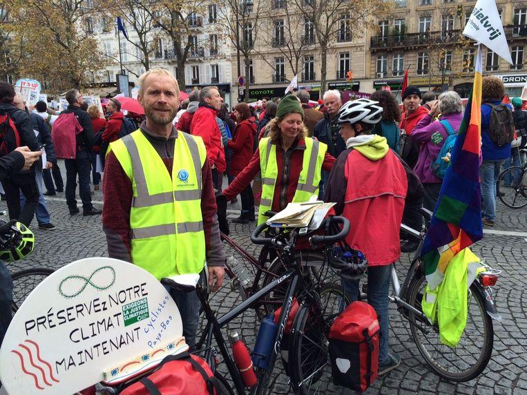 Johan van Werven (58): komen fietsen vanuit Utrecht: '1,5 of 2 graden warmer? We moeten helemaal geen opwarming.' Beeld Pieter Hotse Smit