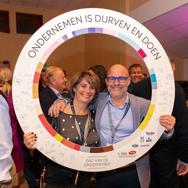 Dag van de Ondernemer in Denderleeuw - Burgemeester Jo Fonck met zijn echtgenote