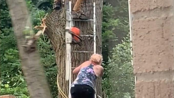Deze vrouw heeft wel héél veel geluk wanneer kettingzaag, takken en ladders vallen