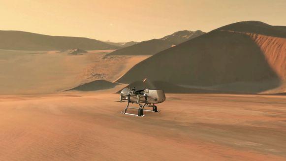 Een artiestenimpressie van NASA-drone Dragonfly op Saturnus-maan Titan.