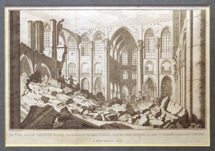 Deze gravure toont het verwoeste interieur van de Gertrudiskerk.